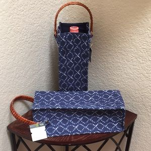 NWT.. Threshold Canvas Rattan Handle Wine Bags.